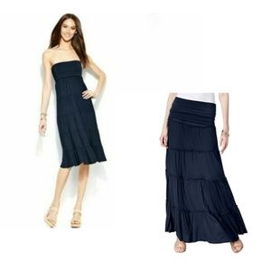 INC Blue Convertible Tiered Maxi Skirt to Dress